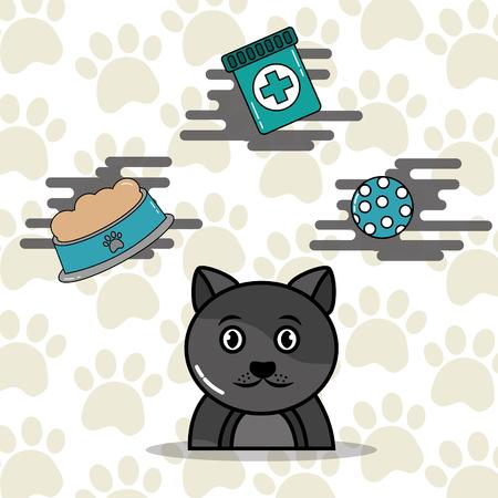 Gray cat cartoon with food toy and medicine vector illustration. Иллюстрация
