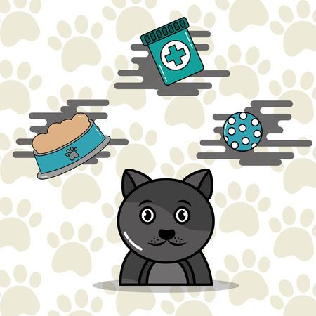 Gray cat cartoon with food toy and medicine vector illustration. Illustration