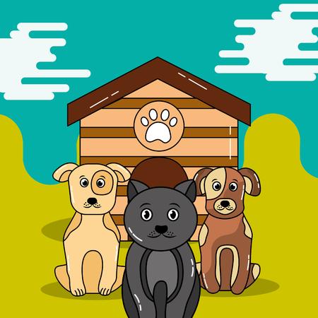 ペットの猫と犬は木造住宅の外に座って待っているベクトル図