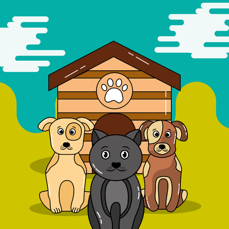 애완 동물 고양이 개는 목조 주택 벡터 일러스트 레이 션 밖에 앉아 기다리고