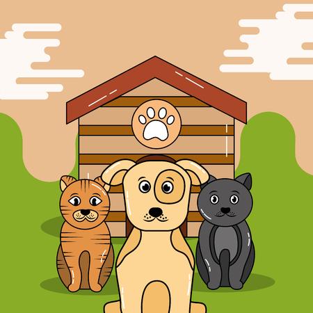 애완 동물 개와 고양이 목조 주택 벡터 일러스트 레이 션 밖에 앉아 기다리고