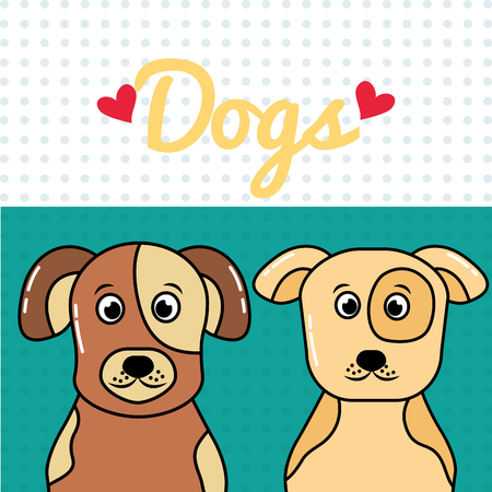 Dogs portrait cartoon spotty animals vector illustration.