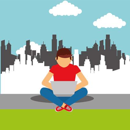 young man sitting on floor with laptop in legs cityscape vector illustration Banco de Imagens - 99771371