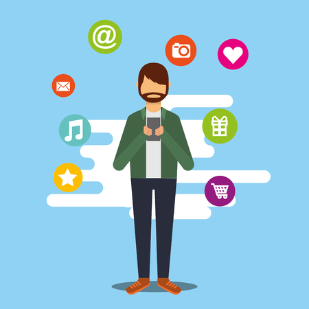 beard young man with smartphones social media icons vector illustration