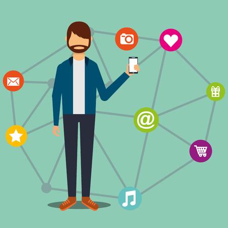 Social media beard hipster man showing smartphone vector illustration.