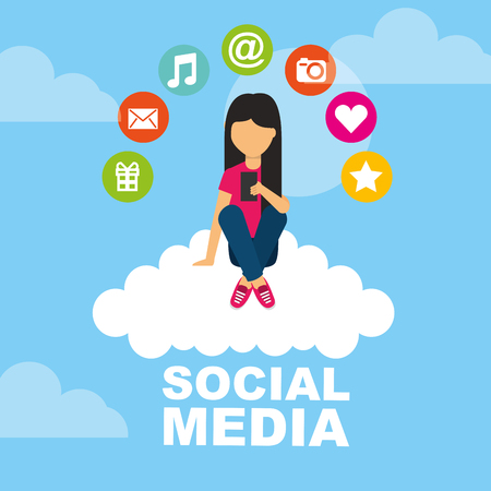Girl with smartphone sitting on cloud social media icons vector illustration.