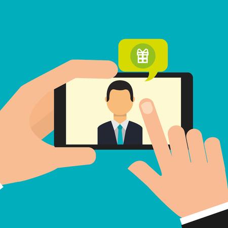 hand holding smartphone talking social media online vector illustration Illustration