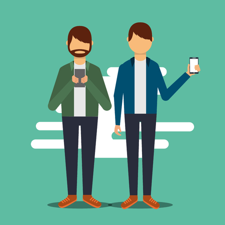 two man standing showing and using smartphone vector illustration