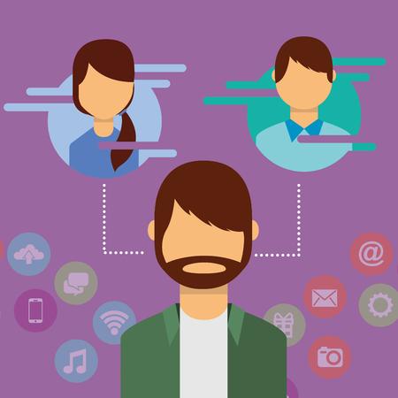man character connecting people social media vector illustration Ilustração
