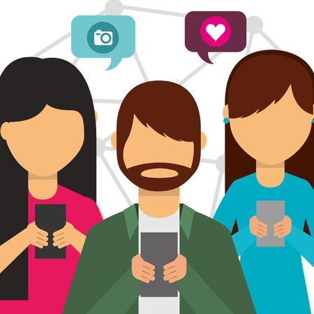social media people user smartphone speech bubbles vector illustration
