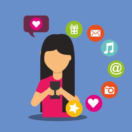 young woman smartphone in hands social media concept vector illustration