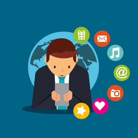 business man typing smartphone social media world vector illustration 向量圖像