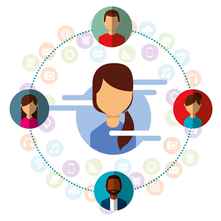 young woman connected people contacts around social media vector illustration
