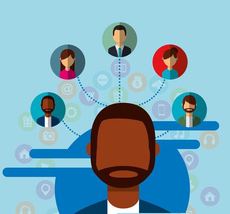 man portrait social media people connection community vector illustration Banco de Imagens