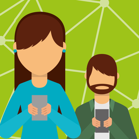 woman and man using smartphones devices vector illustration Banque d'images - 99749318