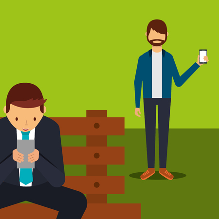 businessman with mobile sitting on bench and man showing smartphone vector illustration