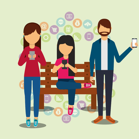 people social media user smartphones technology digital vector illustration
