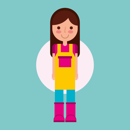 girl gardener farm with apron and boots vector illustration Illustration