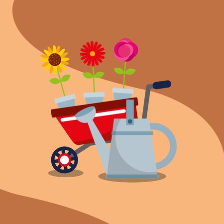gardening wheelbarrow flowers in pot watering can vector illustration