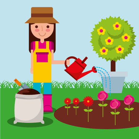 girl gardener with watering can flowers sack soil and potted tree vector illustration