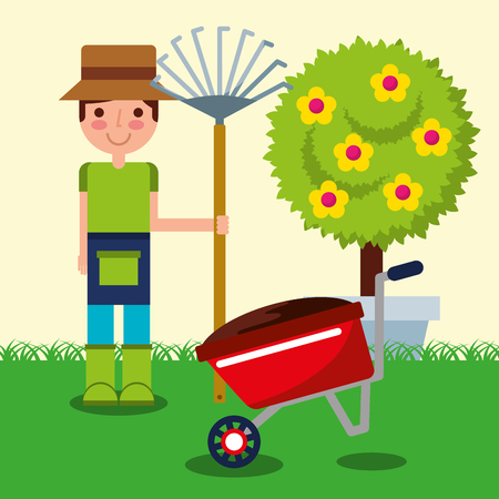 gardener boy farm work wheelbarrow garden rake and tree fruits vector illustration Illustration