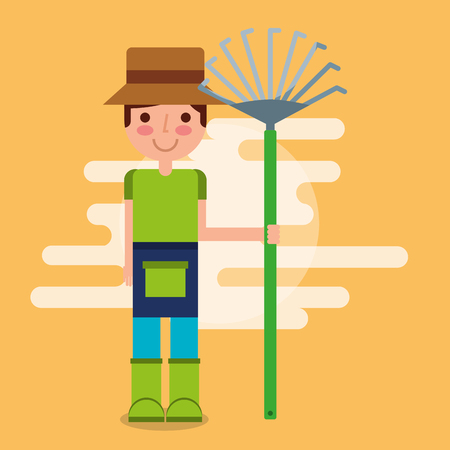 gardener boy farm holding garden rake tool work vector illustration Illustration