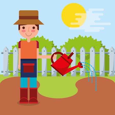 gardener boy watering garden fence bush vector illustration