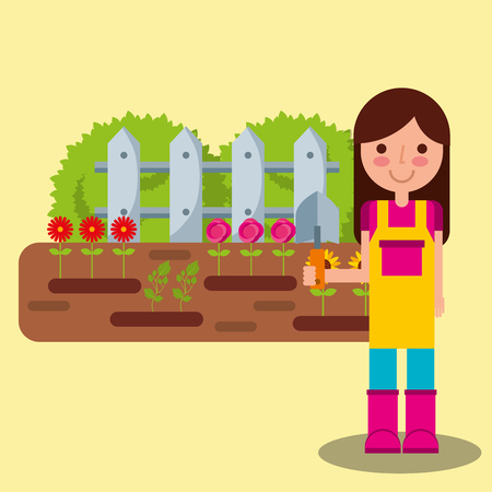 girl gardener planting flower in the garden fence plants vector illustration