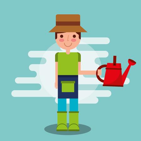gardener boy holding watering can tool vector illustration