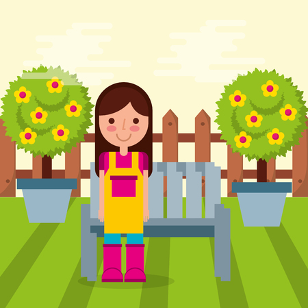 girl gardener bench potted tree fruits and fence with shadow image vector illustration