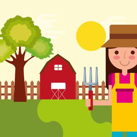 girl gardener farm barn tree fence natural vector illustration Illustration