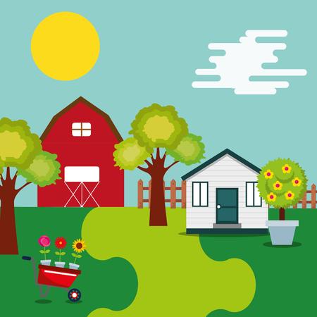 farm barn wooden house wheelbarrow flowers and trees vector illustration Illustration