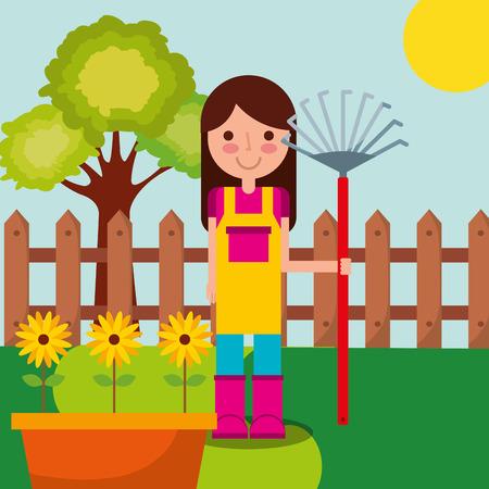 girl gardener with garden rake sunflowers in pot and tree fence vector illustration