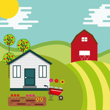 farm house barn garden flowers wheelbarrow in hill vector illustration Illustration