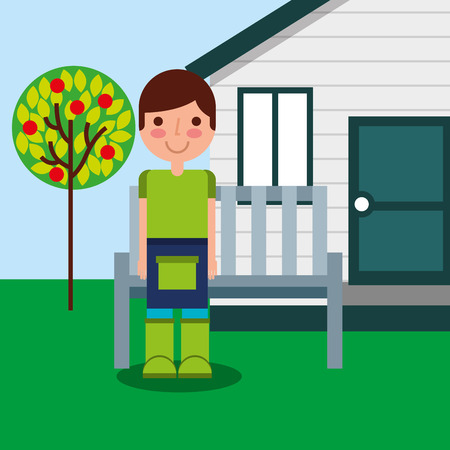 gardener boy wooden house bench and fruit tree garden vector illustration