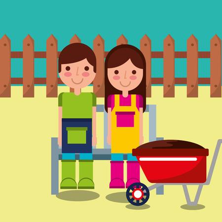 女の子と少年庭師ファーム木製ベンチフェンスと手押し車ベクトルイラスト