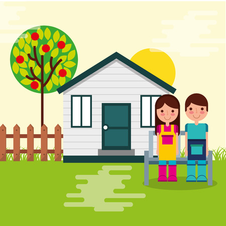 boy and girl gardeners house bench tree and fence garden vector illustration