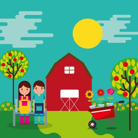 boy and girl gardeners farm barn garden wheelbarrow trees vector illustration