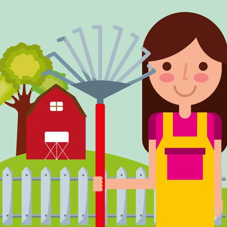 girl gardener farm barn garden rake fence tree vector illustration