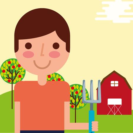 gardener boy farm work barn trees fruits vector illustration