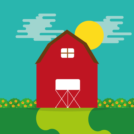 cartoon farm wooden barn garden flower and sun vector illustration