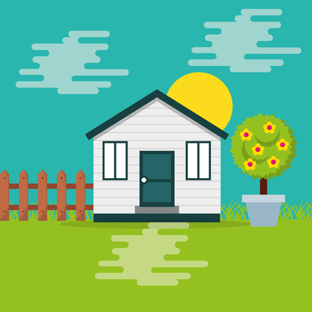 cute wooden house garden fence potted tree fruit and sun day vector illustration Illustration