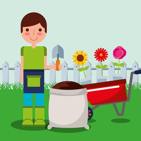 gardener boy holding shovel wheelbarrow and sack earth fence garden work vector illustration