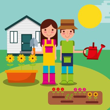 boy and girl gardeners planting flowers in garden vector illustration