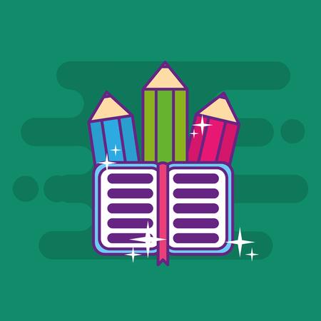 school wooden color pencil and open book bookmark vector illustration Иллюстрация