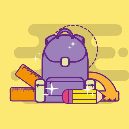 school backpack pencil ruler protractor vector illustration