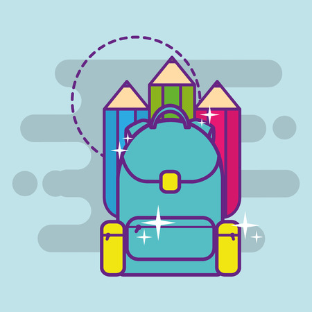 school backpack and wooden color pencils vector illustration