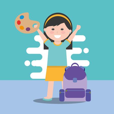 happy school little girl holding art palette paint backpack vector illustration Stock Illustratie
