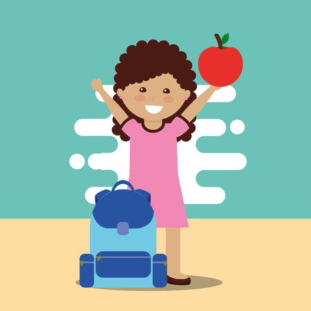 happy school little girl holding apple with backpack vector illustration