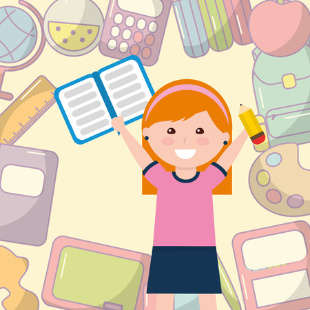 school little girl student with book pencil supplies background vector illustration